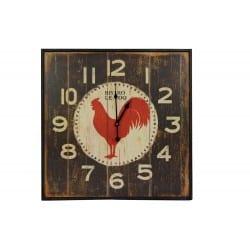 Horloge Ancienne Murale Carre Bistrot Le Coq 60cm