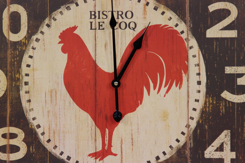 horloge ancienne murale carre bistrot le coq 60cm. Black Bedroom Furniture Sets. Home Design Ideas