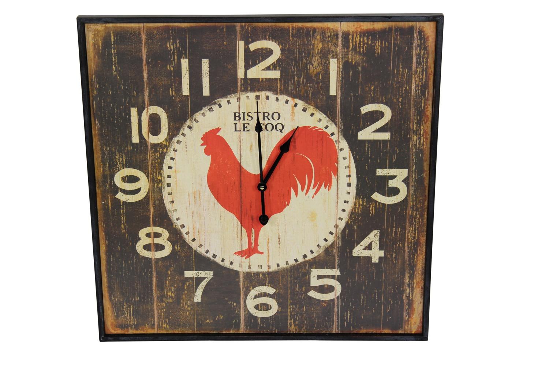 Horloge ancienne murale carre bistrot le coq 60cm - Horloge murale 60 cm ...