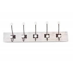PATERE PORTEMANTEAU BOIS CERUSE BLANC 10 ACCROCHES 70.5x9x19.5cm