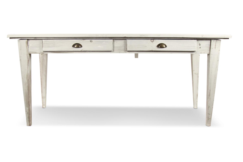Table Bois 4 Tiroirs Cerusé Blanc 180x72x78cm