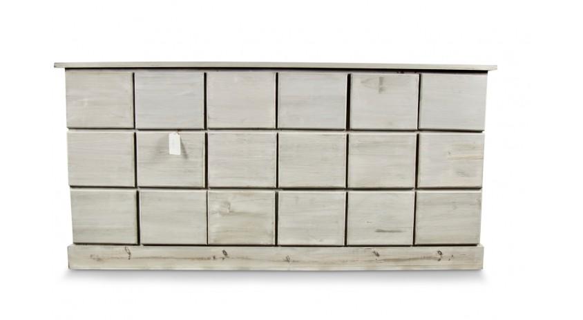 MEUBLE SEMAINIER CHIFFONNIER GRAINETIER BOIS 18 TIROIRS CERUSE BLANC NU 170x50x83cm
