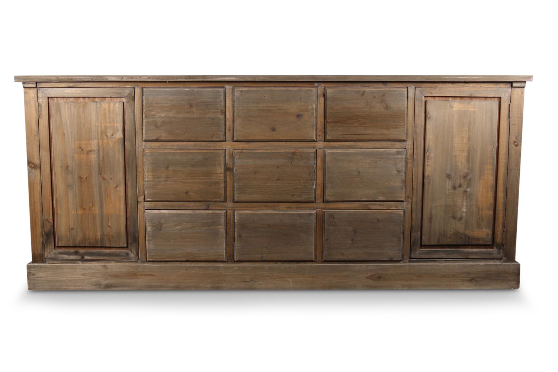 meuble semainier chiffonnier grainetier bois 9 tiroirs nu 210x54x90cm