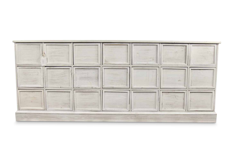 MEUBLE SEMAINIER CHIFFONNIER GRAINETIER BOIS 21 TIROIRS CERUSE BLANC NU 192x40.5x76cm