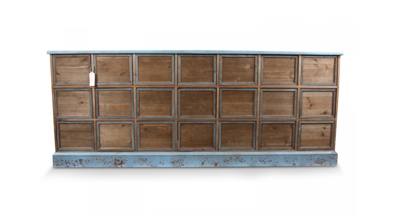 Meuble Semainier Chiffonnier Grainetier Bois 21 Tiroirs Bleu Vieilli Nu 192x40.5x76cm