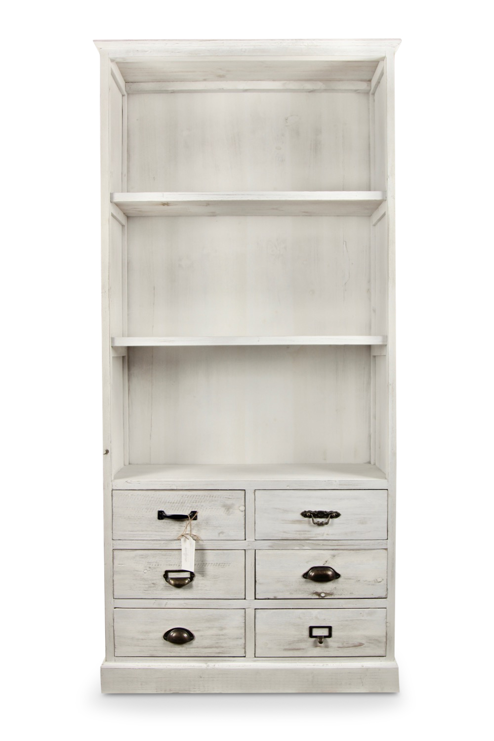 buffet vaisselier rangement bois 6 tiroirs ceruse blanc 78x34x168cm. Black Bedroom Furniture Sets. Home Design Ideas
