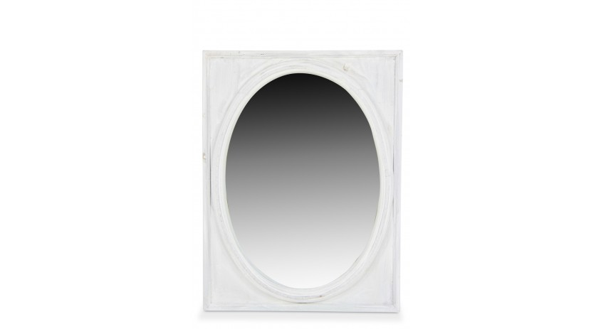 Miroir ancien oval vertical bois ceruse blanc for Miroir vertical