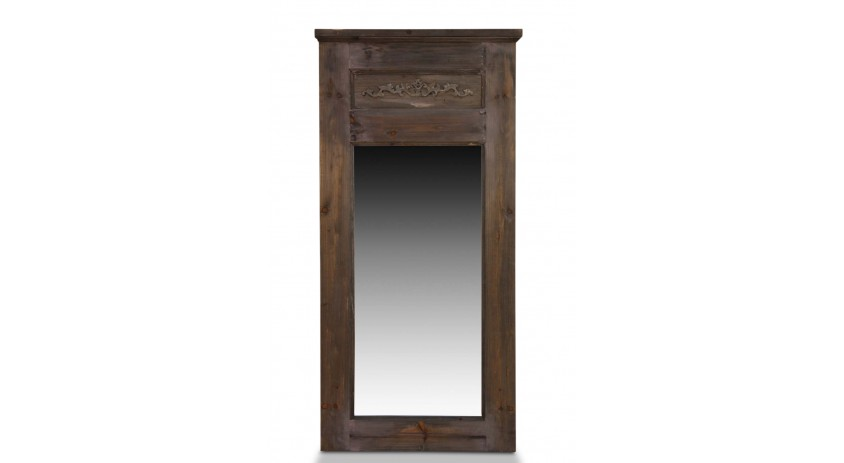 Grand miroir ancien rectangulaire vertical bois 58x4x118cm for Miroir vertical