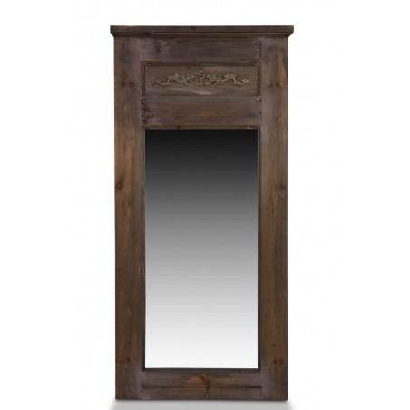 Grand Miroir Ancien Rectangulaire Vertical Bois 58x4x118cm