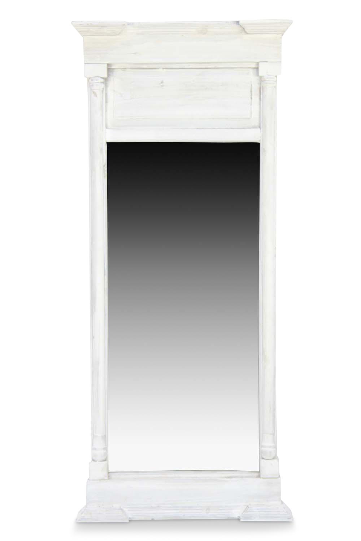 GRAND MIROIR ANCIEN RECTANGULAIRE VERTICAL BOIS CERUSE BLANC 59x11x136cm