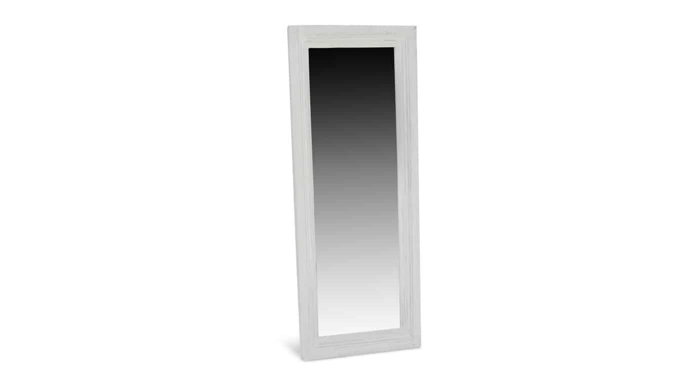 Miroir Ancien Rectangulaire Bois Blanc Cerusé 155x5.5x60cm