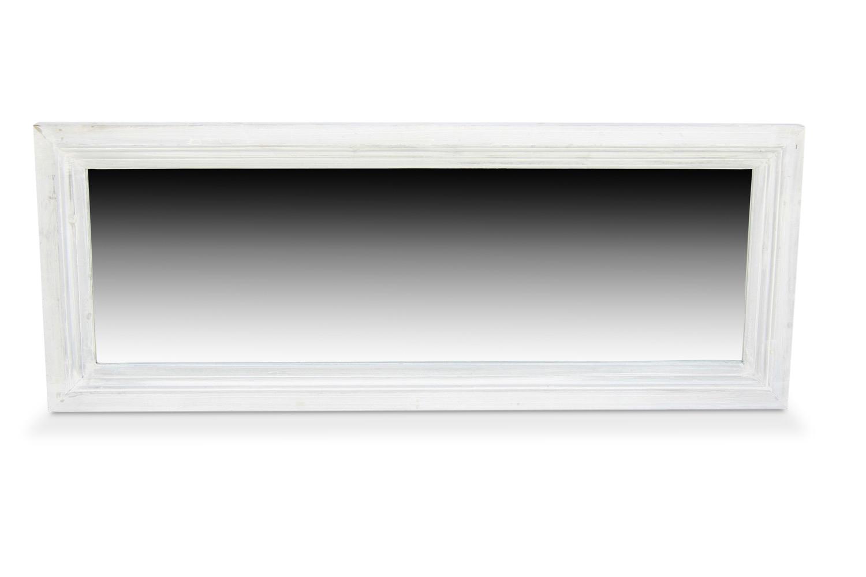 Miroir ancien rectangulaire bois blanc ceruse for Miroir rectangulaire blanc