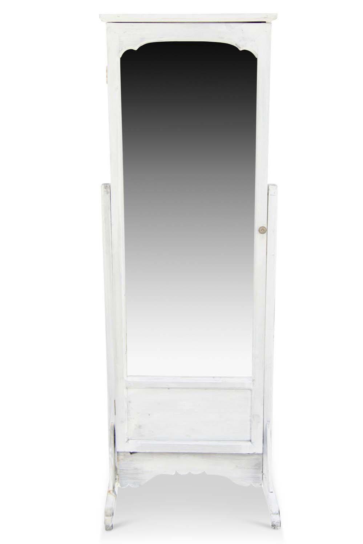 Miroir Ancien Rectangulaire Vertical Sur Pied Bois Blanc Cerusé 50x45x146.5cm