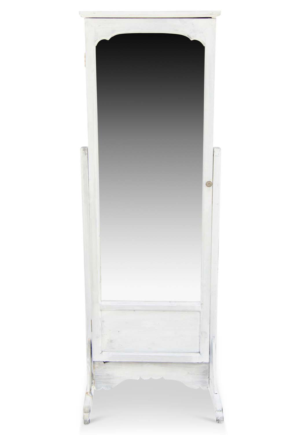 miroir ancien rectangulaire vertical sur pied bois blanc ceruse. Black Bedroom Furniture Sets. Home Design Ideas