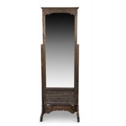 Miroir Ancien Rectangulaire Vertical Sur Pied Bois 50x45x146.5cm