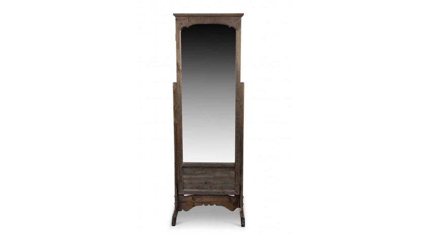 Miroir ancien rectangulaire vertical sur pied bois - Prix d un miroir ancien ...
