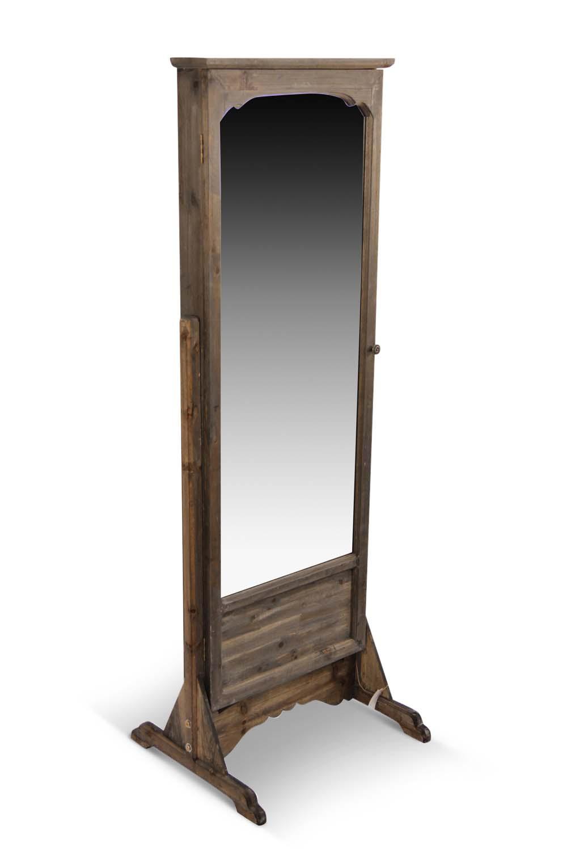 Miroir ancien rectangulaire vertical sur pied bois for Miroir bois 50 x 70