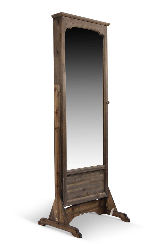 Miroir ancien rectangulaire vertical sur pied bois for Miroir vertical
