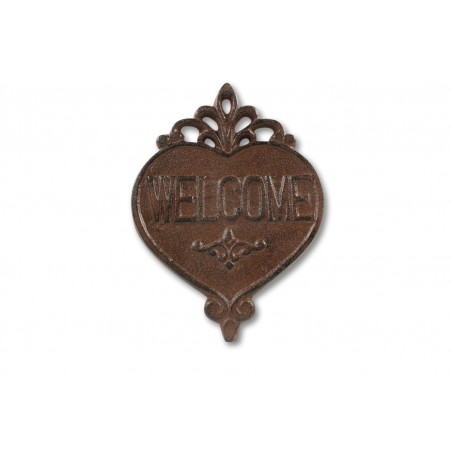 PLAQUE COEUR WELCOME FONTE