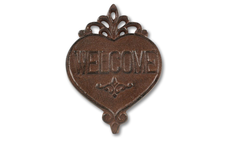 Plaque Coeur Welcome Fonte