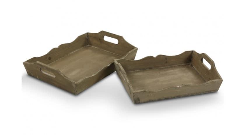 LOT DE 2 PLATEAUX RANGEMENT BOIS 41cm-37cm