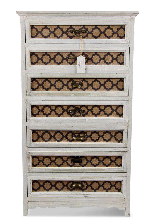 MEUBLE SEMAINIER CHIFFONNIER GRAINETIER BOIS CERUSE BLANC 7 TIROIRS 64x32.5x112.5cm