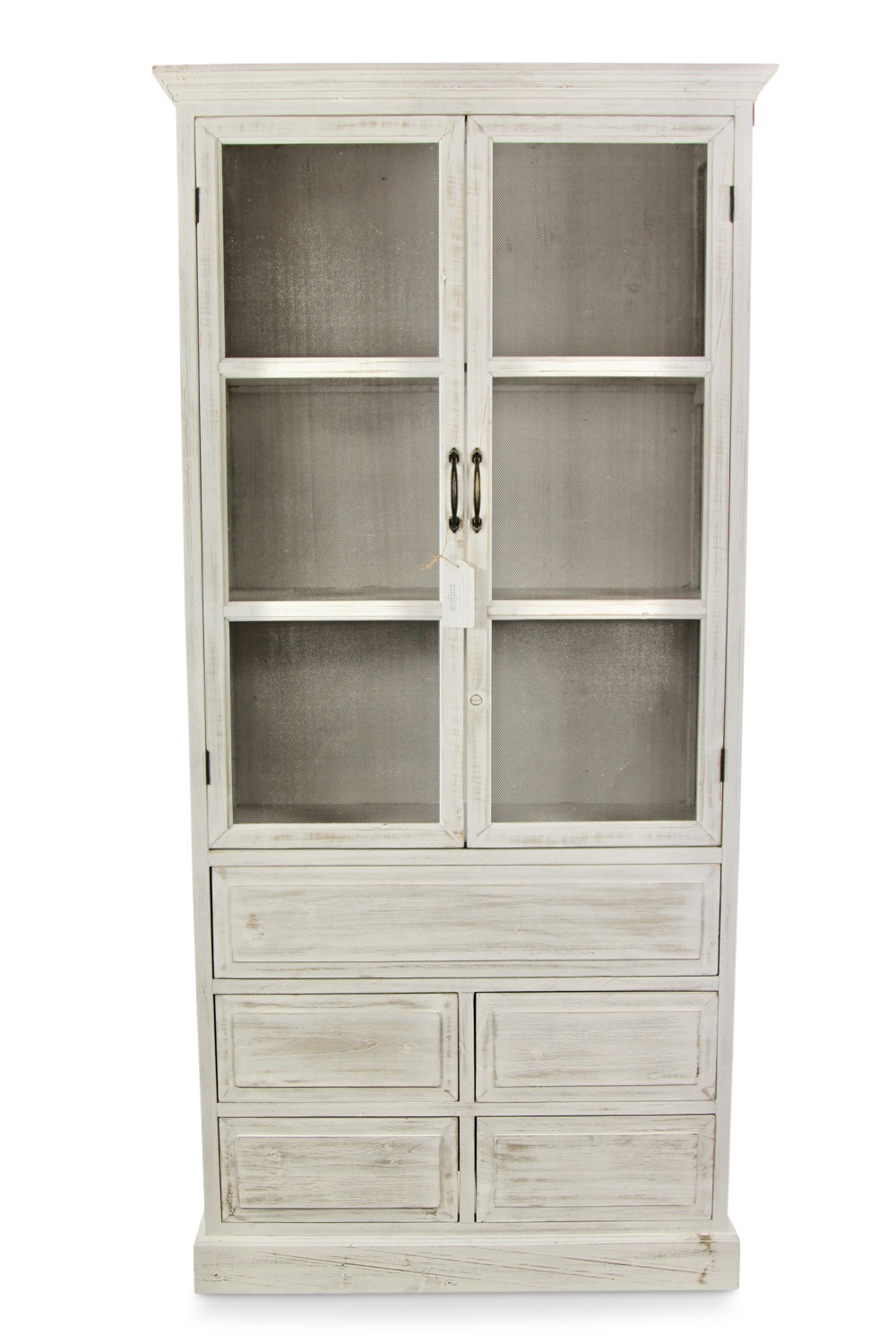 buffet vaisselier rangement bois 5 tiroirs ceruse blanc nu 81x35x169cm. Black Bedroom Furniture Sets. Home Design Ideas