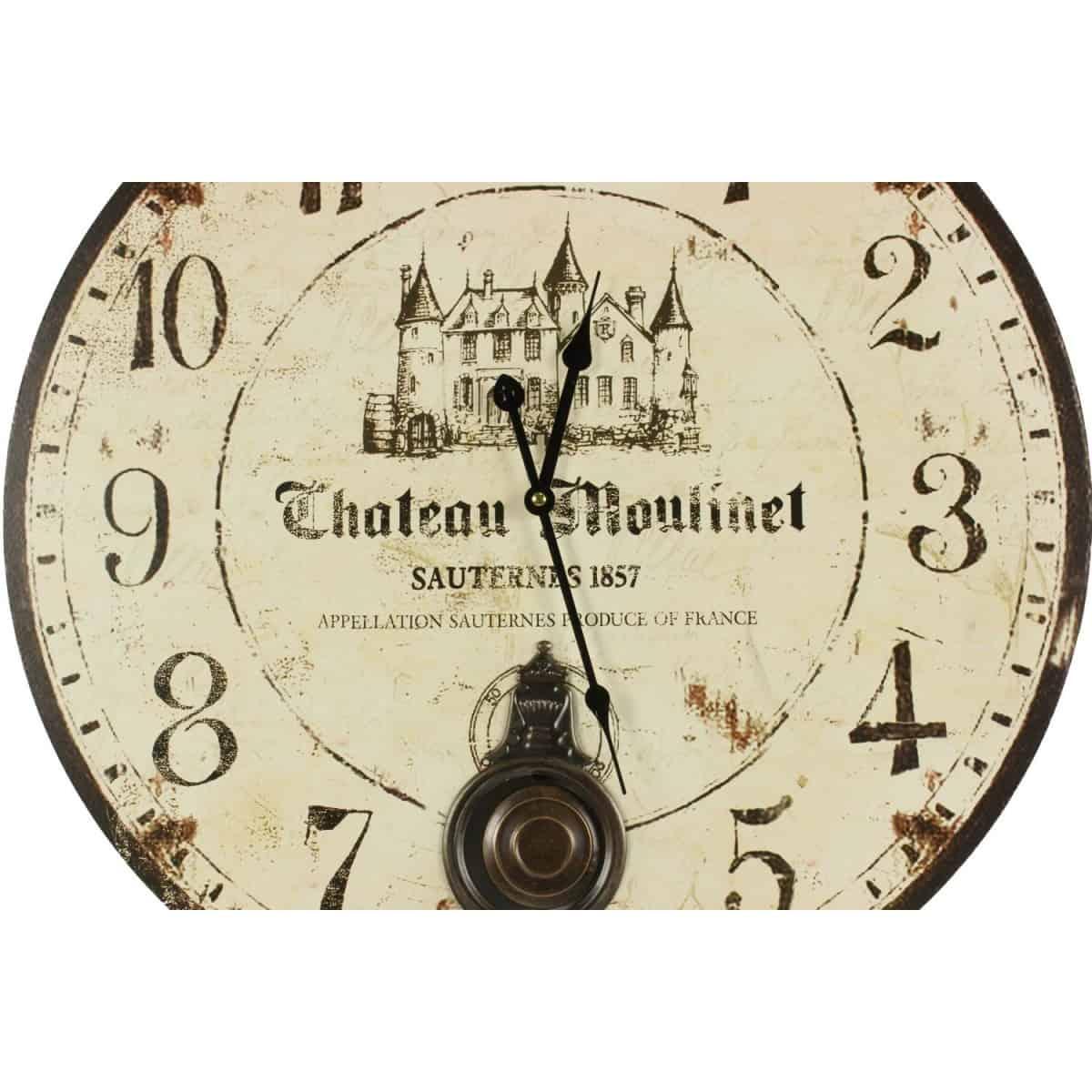 Horloge Ancienne Balancier Château Moulinet 58cm