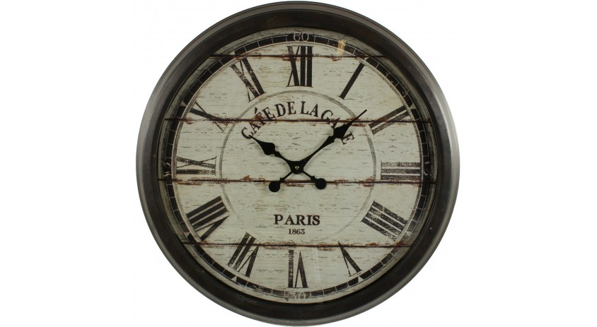 grande horloge ancienne murale cafe de la gare 70cm. Black Bedroom Furniture Sets. Home Design Ideas