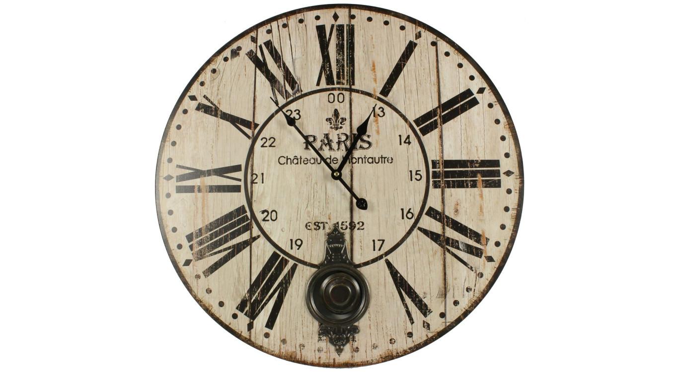 Horloge Ancienne Balancier Paris Château De Monceau 58cm
